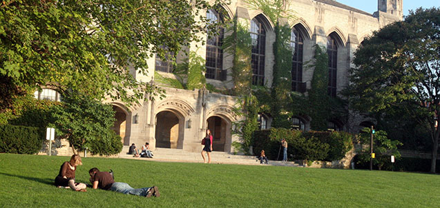 People relaxing and walking on Deering Meadow.